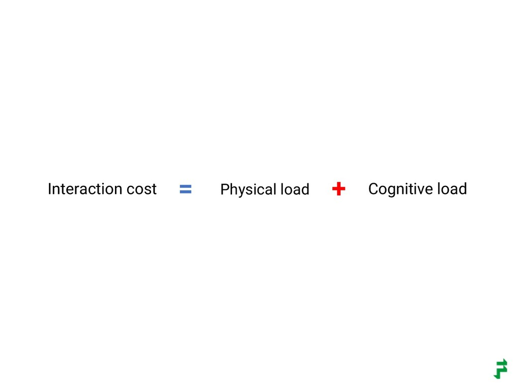 Interaction cost Physical load Cognitive load =...