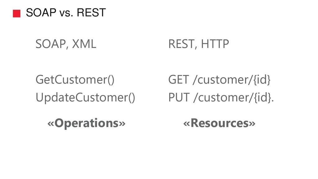 SOAP vs. REST SOAP, XML GetCustomer() UpdateCus...