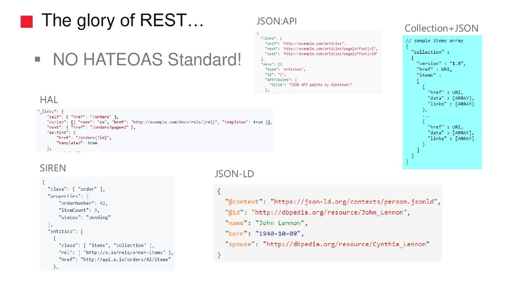 The glory of REST… ▪ NO HATEOAS Standard! HAL J...