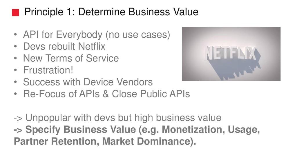 Principle 1: Determine Business Value • API for...