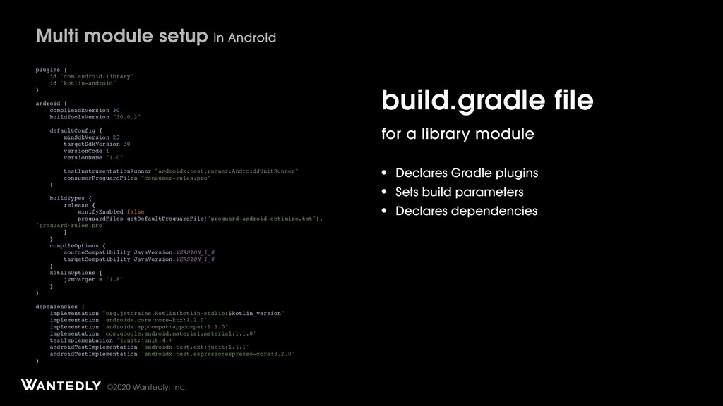 ©2020 Wantedly, Inc. build.gradle file for a li...