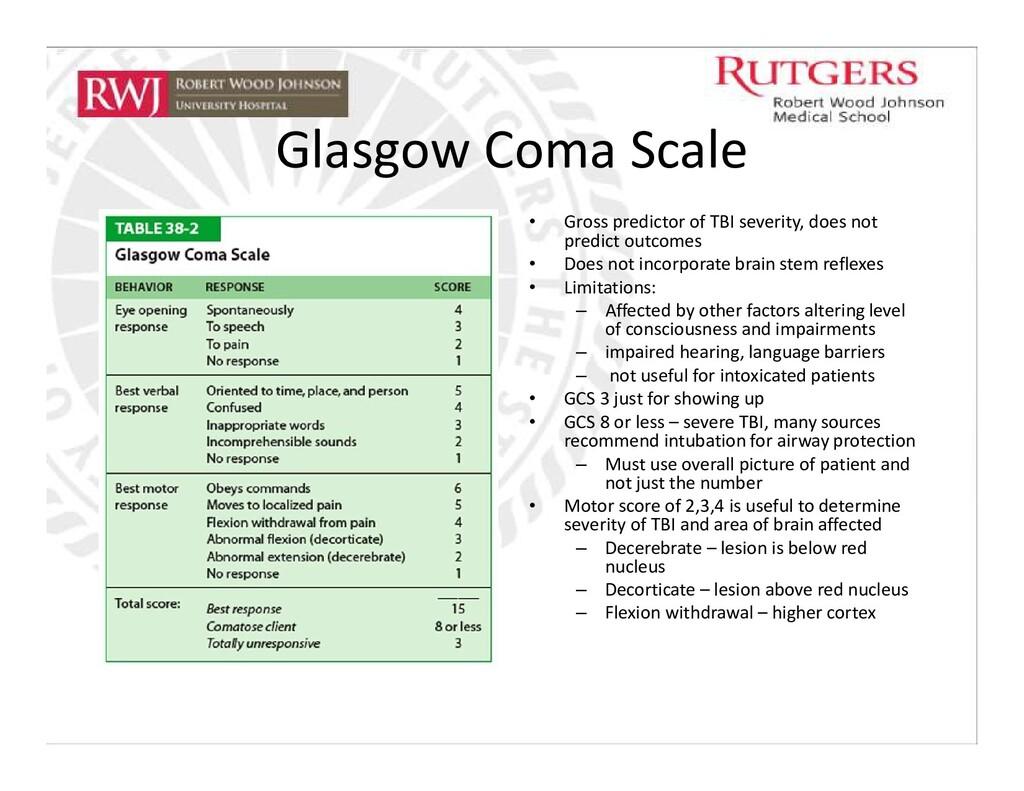 Glasgow Coma Scale • Gross predictor of TBI sev...
