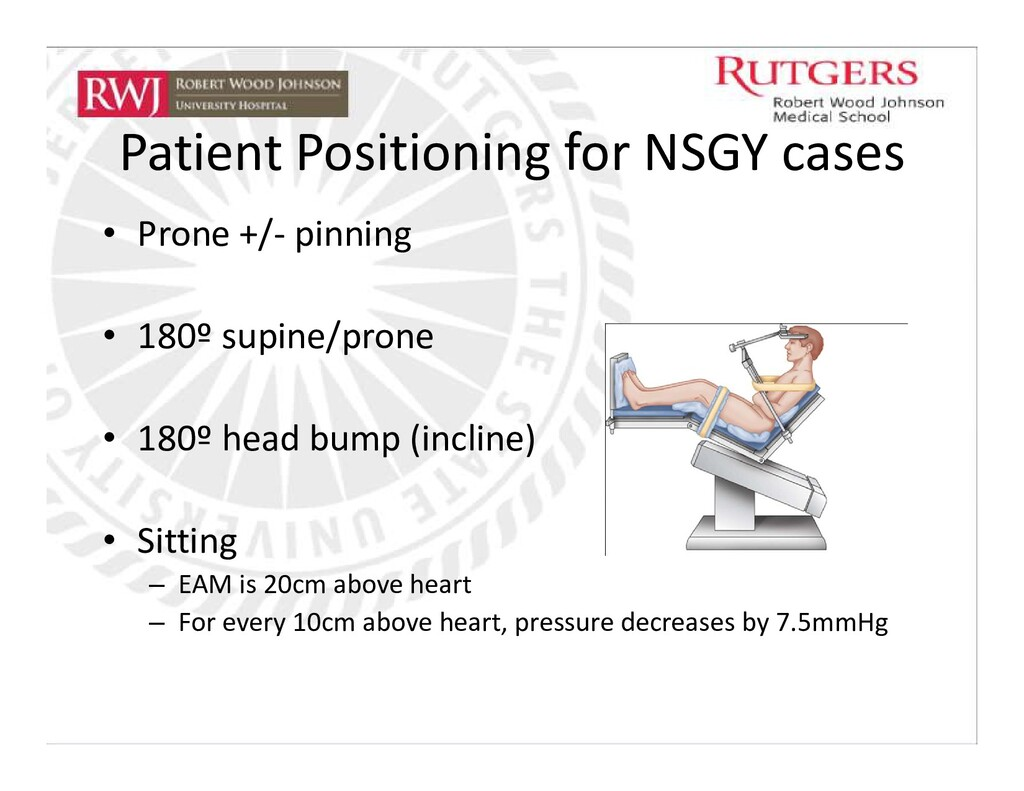Patient Positioning for NSGY cases • Prone +/- ...