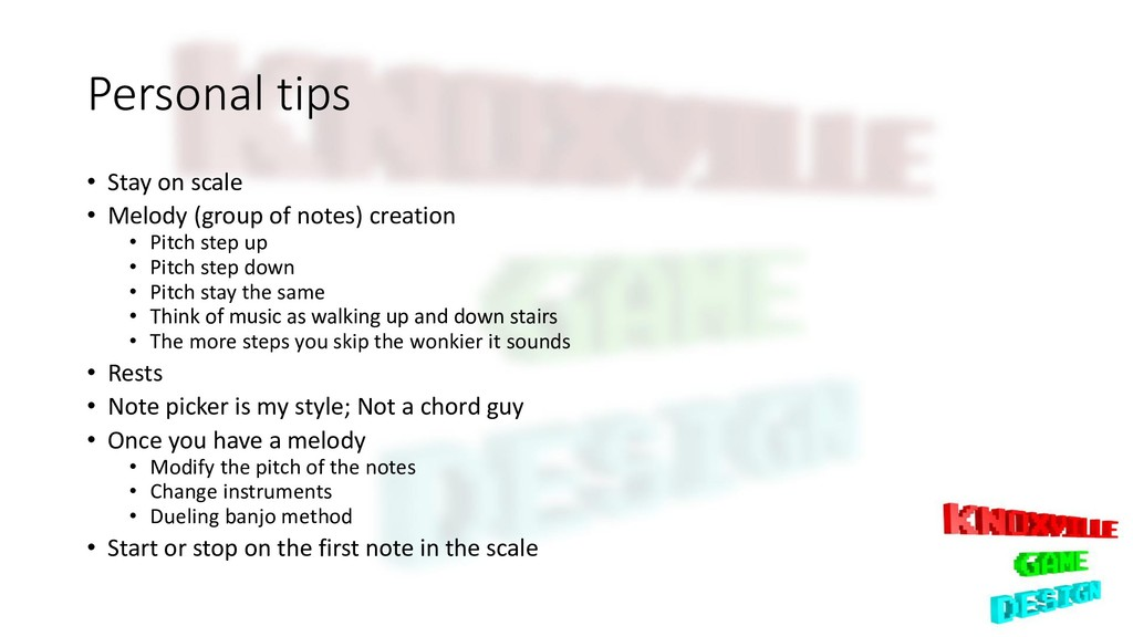 Personal tips • Stay on scale • Melody (group o...