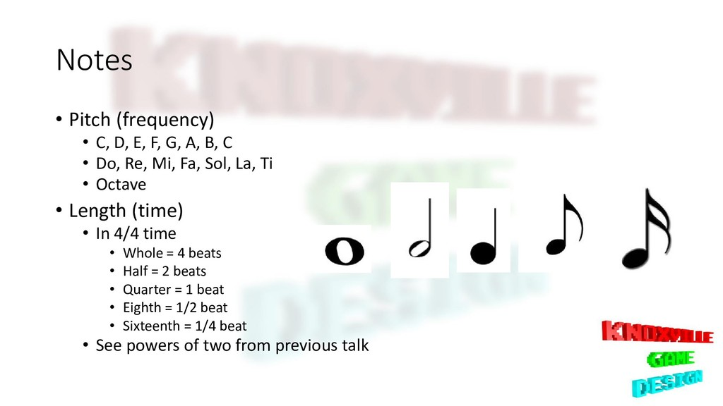 Notes • Pitch (frequency) • C, D, E, F, G, A, B...
