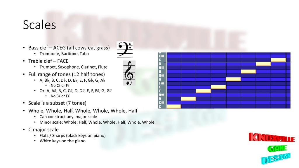 Scales • Bass clef – ACEG (all cows eat grass) ...