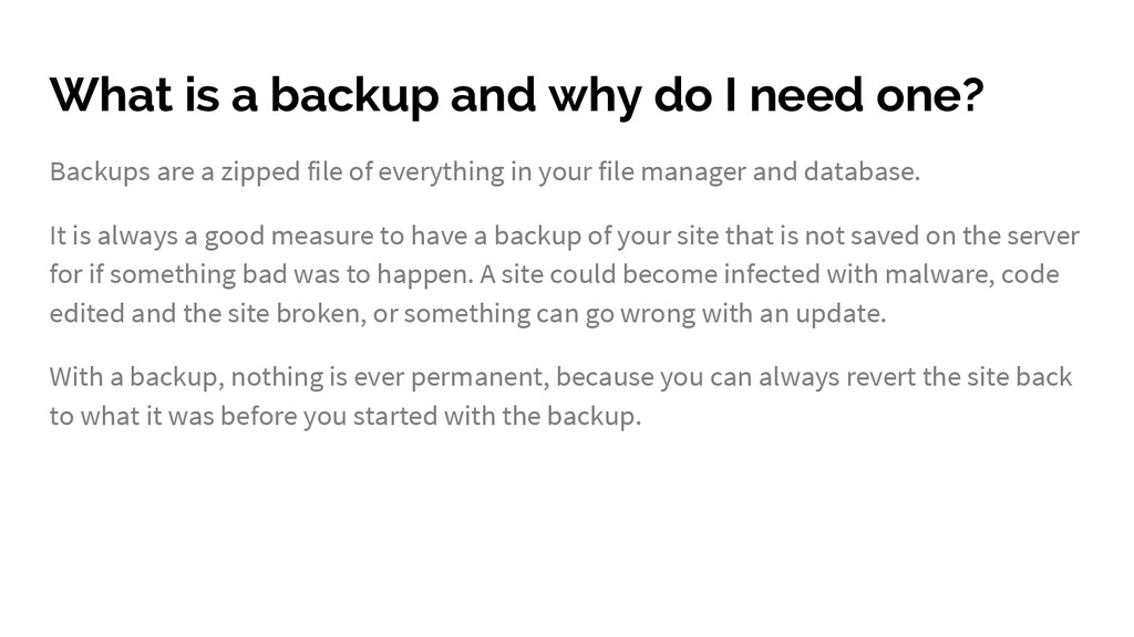 What is a backup and why do I need one? Backups...
