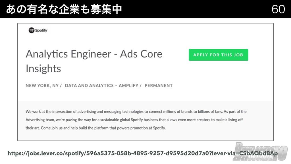 ͋ͷ༗໊ͳاۀืूத  https://jobs.lever.co/spotify/59...
