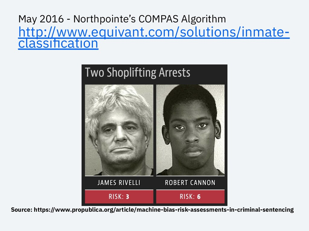 May 2016 - Northpointe's COMPAS Algorithm http:...