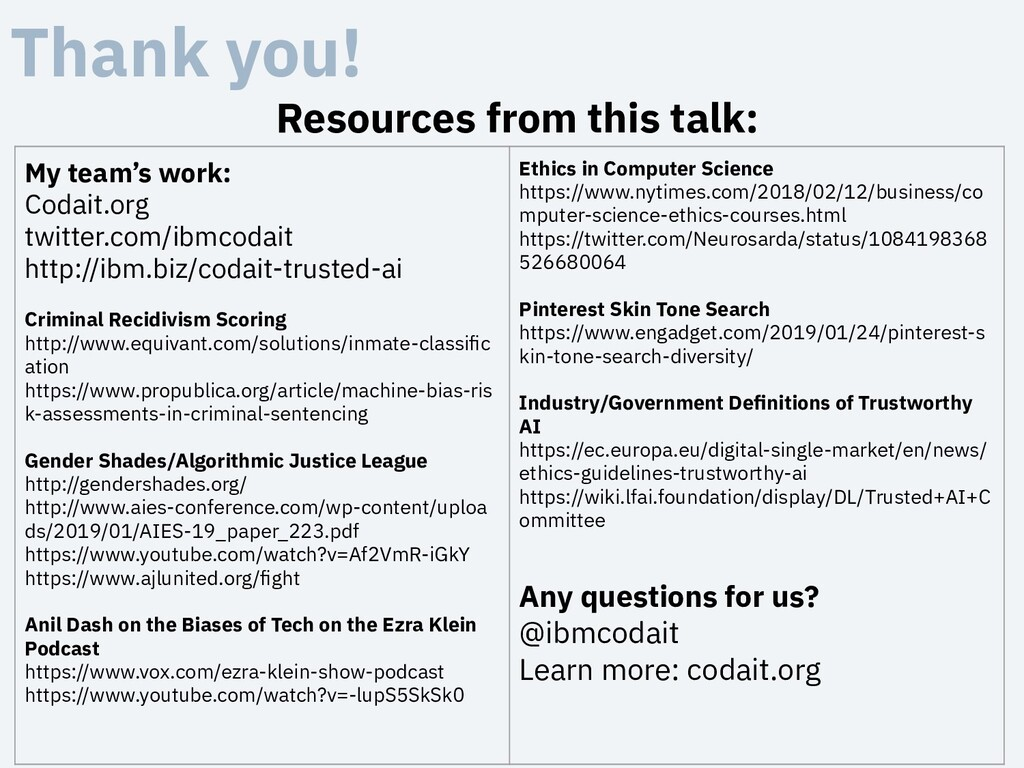 Thank you! Resources from this talk: My team's ...