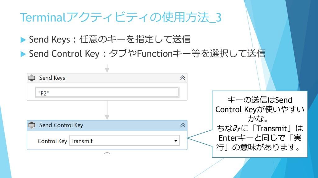 Terminalアクティビティの使用方法_3  Send Keys:任意のキーを指定して送信...