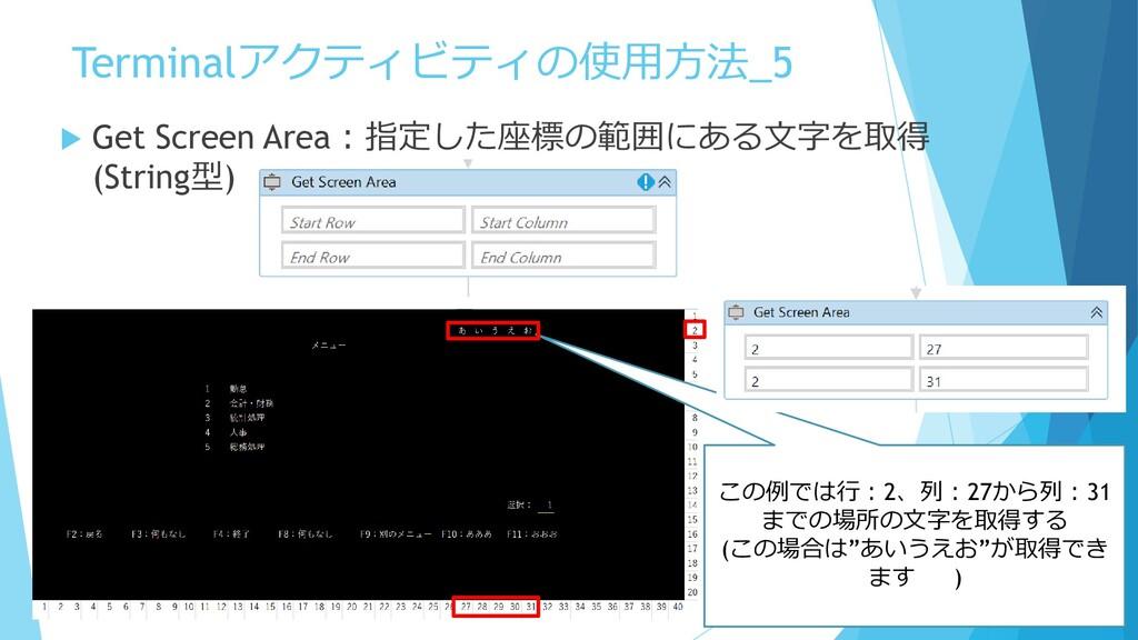 Terminalアクティビティの使用方法_5  Get Screen Area:指定した座標...