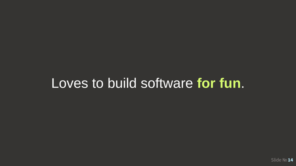 Slide № 14 Loves to build software for fun.