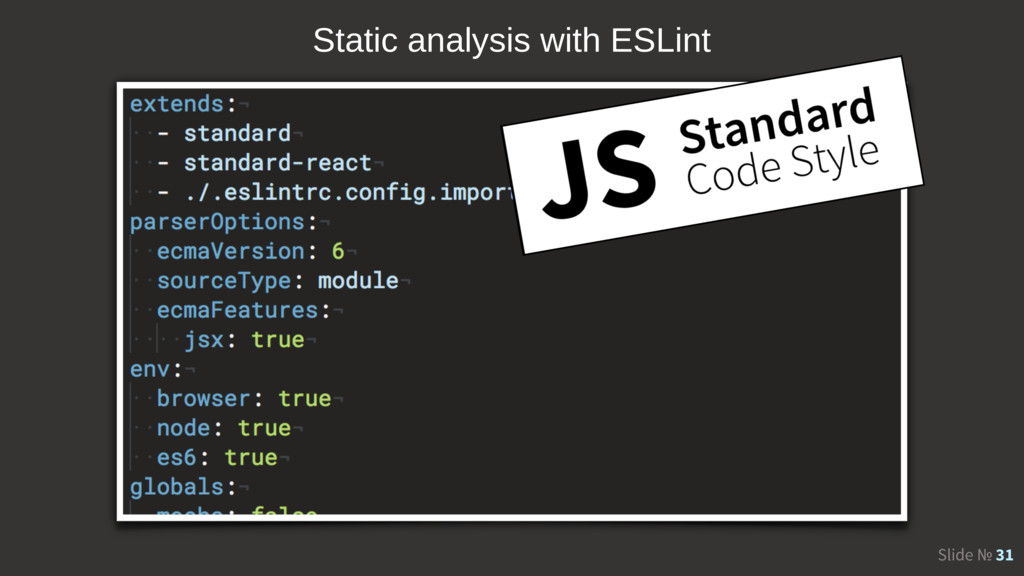 Slide № 31 Static analysis with ESLint