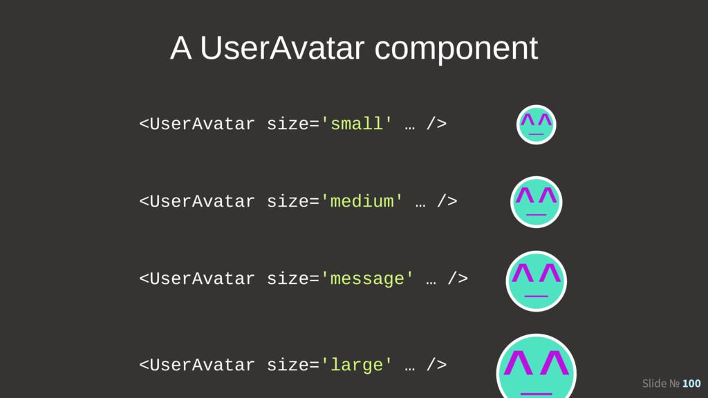 Slide № 100 <UserAvatar size='small' … /> <User...