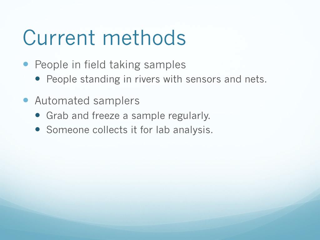 Current methods — People in field taking samp...