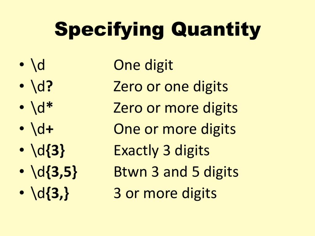 Specifying Quantity • \d One digit • \d? Zero o...