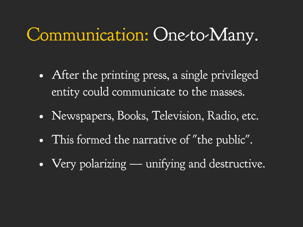 Communication: One-to-Many. • After the printin...