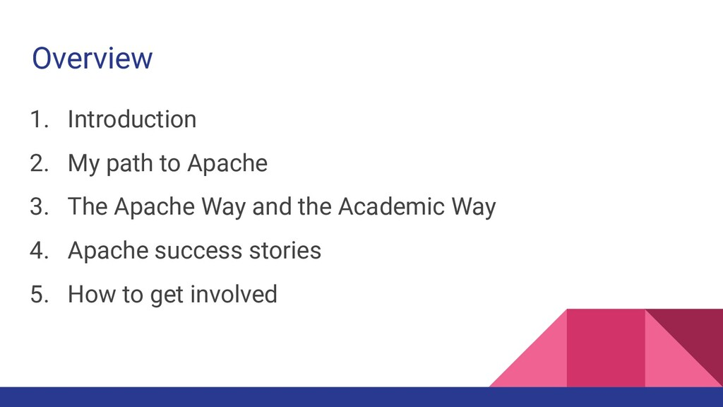 Overview 1. Introduction 2. My path to Apache 3...