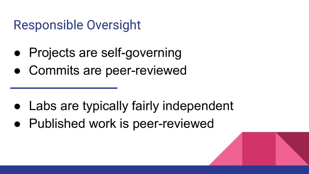 Responsible Oversight ● Projects are self-gover...