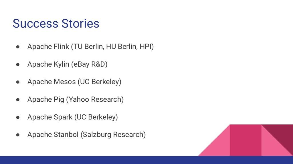 Success Stories ● Apache Flink (TU Berlin, HU B...