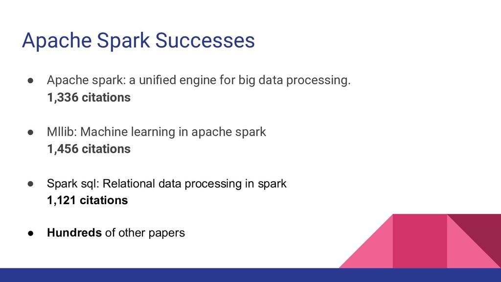 Apache Spark Successes ● Apache spark: a unified...