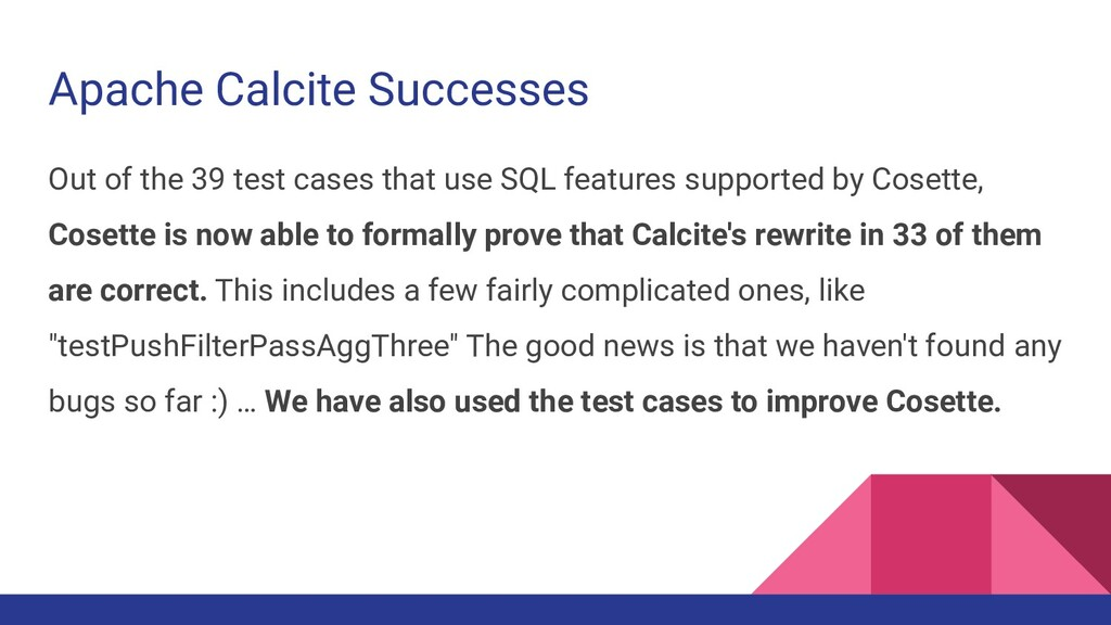 Apache Calcite Successes Out of the 39 test cas...