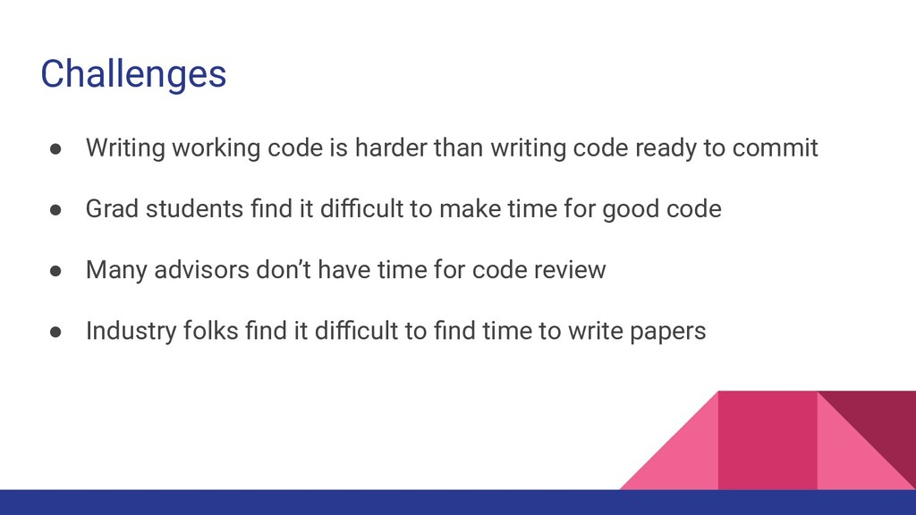 Challenges ● Writing working code is harder tha...