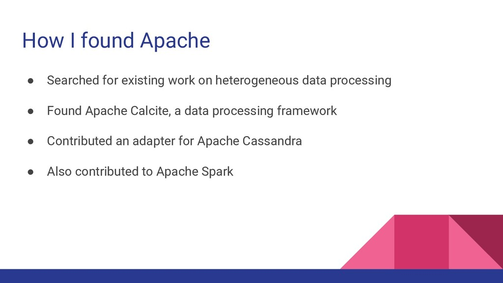 How I found Apache ● Searched for existing work...