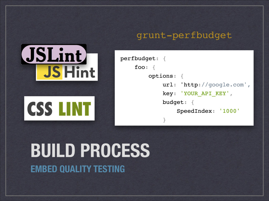 BUILD PROCESS EMBED QUALITY TESTING grunt-perfb...