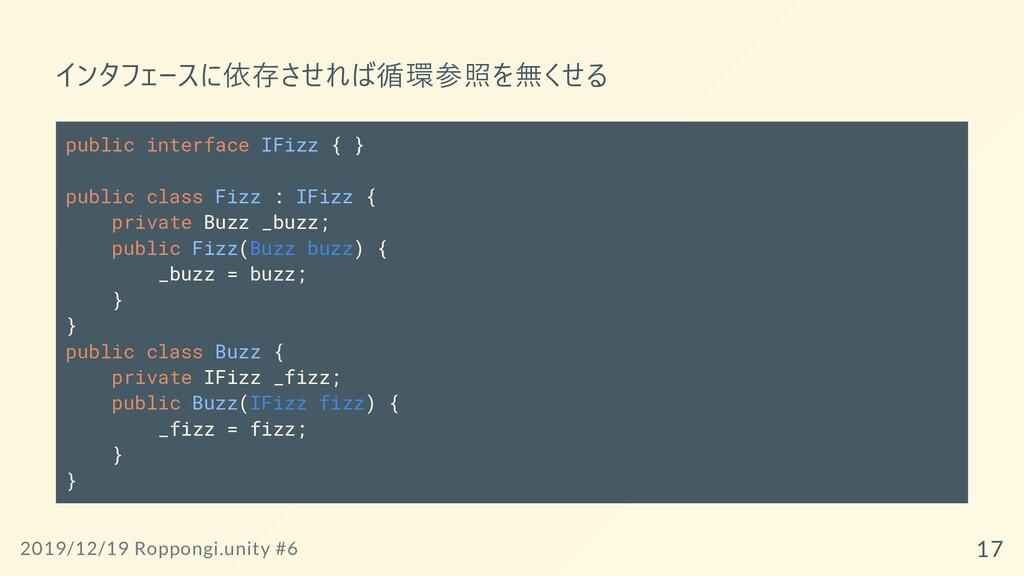 インタフェースに依存させれば循環参照を無くせる public interface IFizz ...