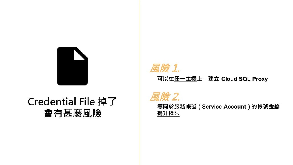 Credential File 掉了 會有甚麼風險 風險 1. 可以在任一主機上,建立 Clo...