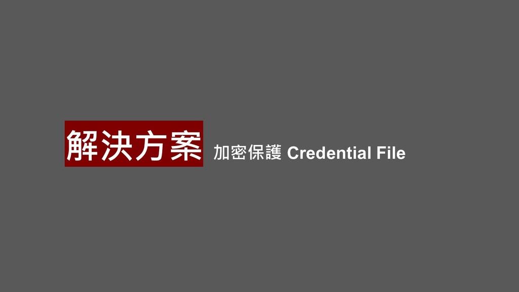 解決方案 加密保護 Credential File
