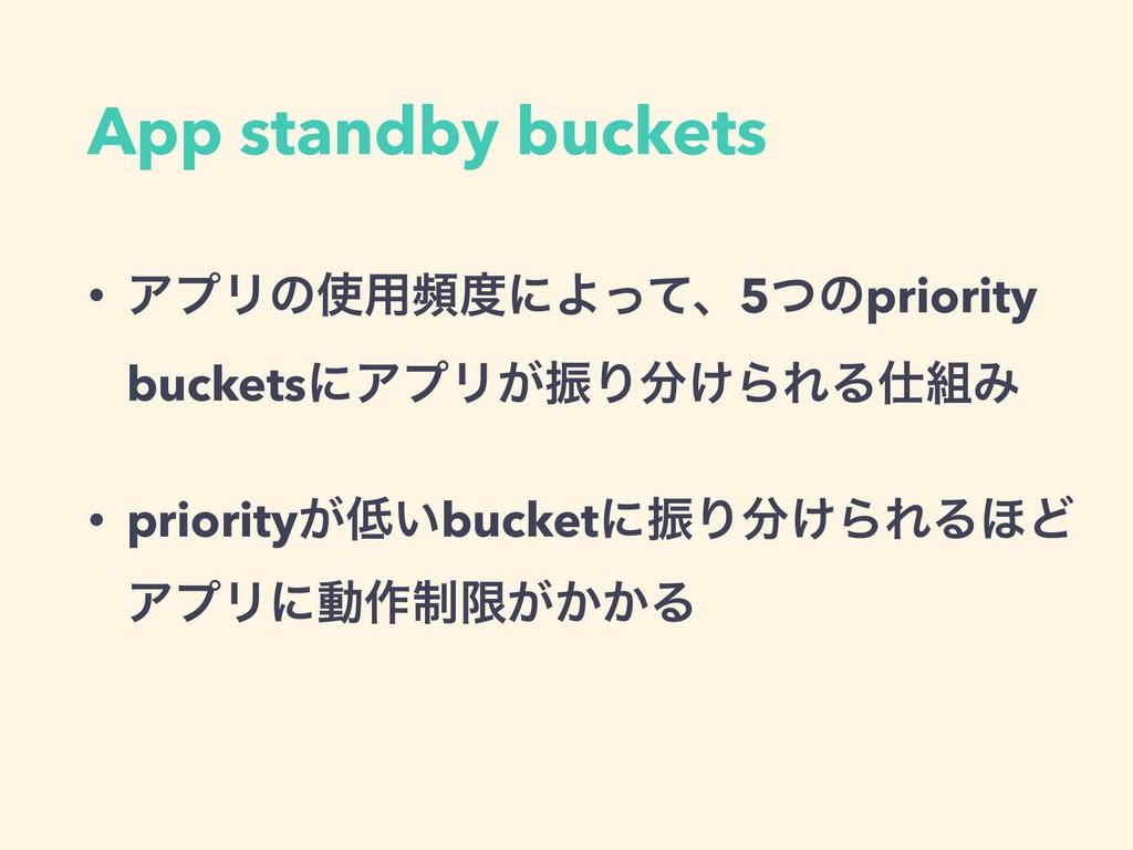 App standby buckets • ΞϓϦͷ༻සʹΑͬͯɺ5ͭͷpriority ...
