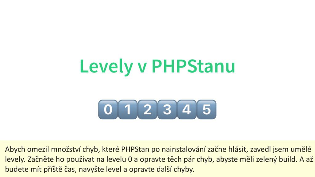 Levely v PHPStanu $%&'() Abych omezil množství ...