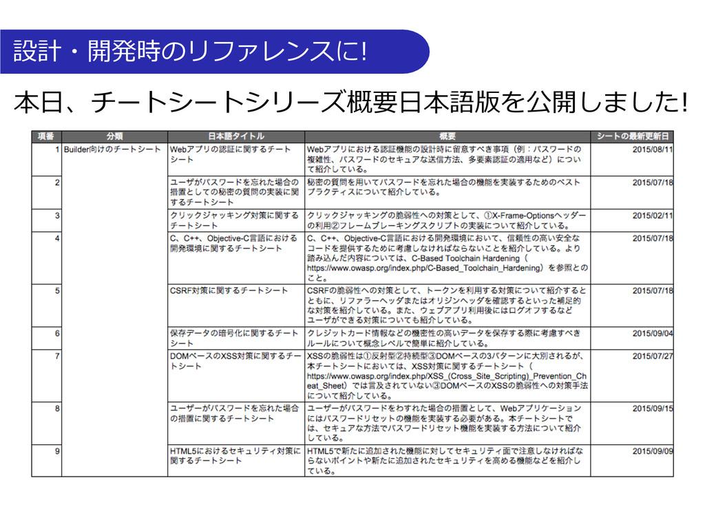 設計・開発時のリファレンスに! 本⽇日、チートシートシリーズ概要⽇日本語版を公開しまし...