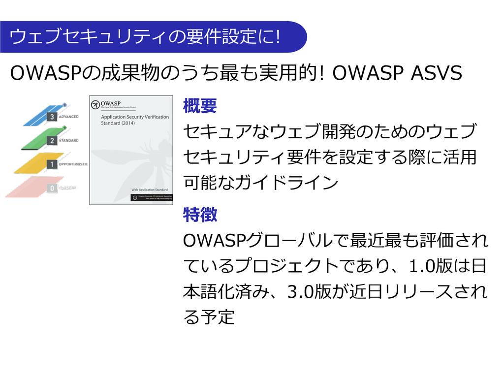 ウェブセキュリティの要件設定に! OWASPの成果物のうち最も実⽤用的! OWA...