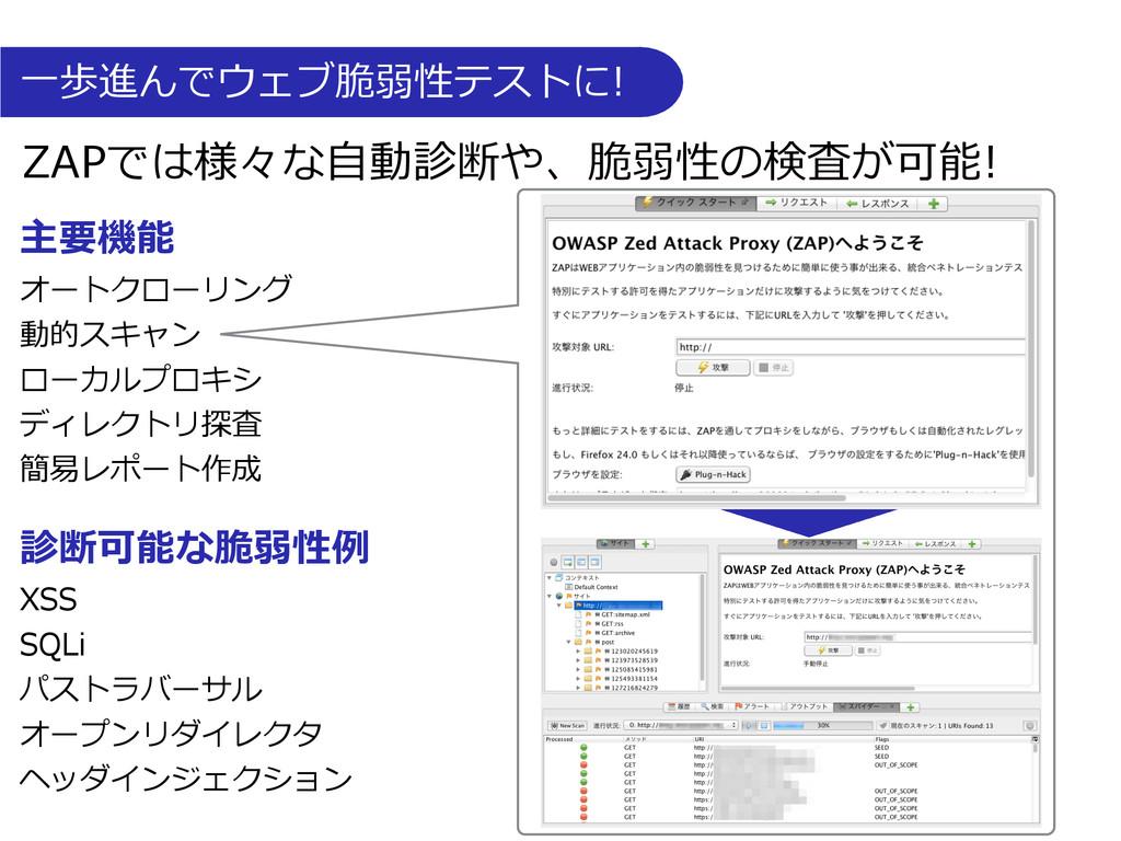 ⼀一歩進んでウェブ脆弱性テストに! ZAPでは様々な⾃自動診断や、脆弱性の検査が可能!...