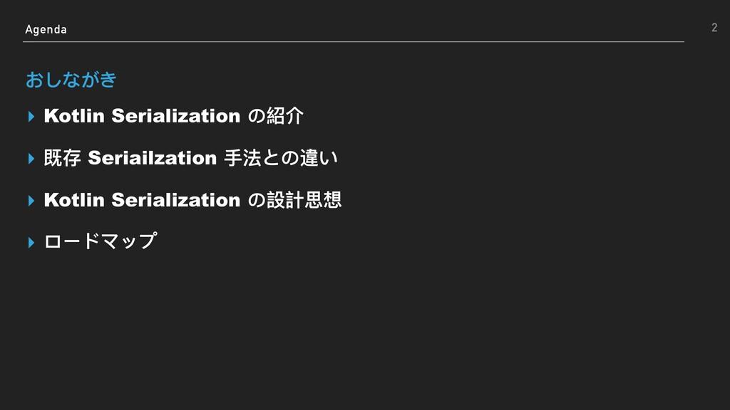 Agenda おしながき ▸ Kotlin Serialization の紹介 ▸ 既存 Se...