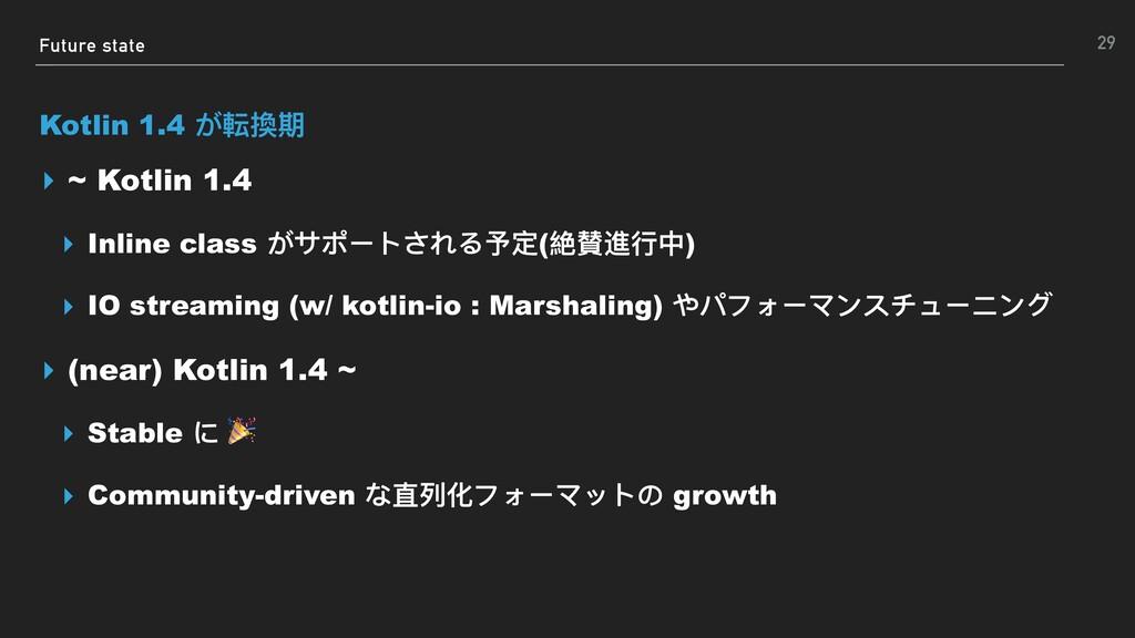 Future state Kotlin 1.4 が転換期 ▸ ~ Kotlin 1.4 ▸ I...