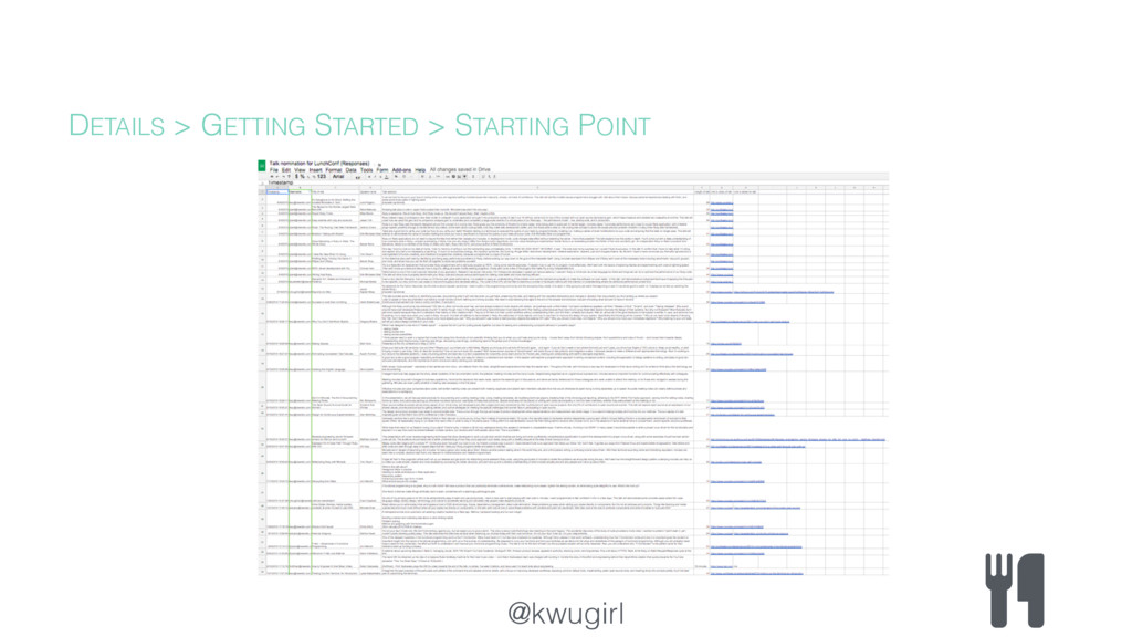 @kwugirl DETAILS > GETTING STARTED > STARTING P...