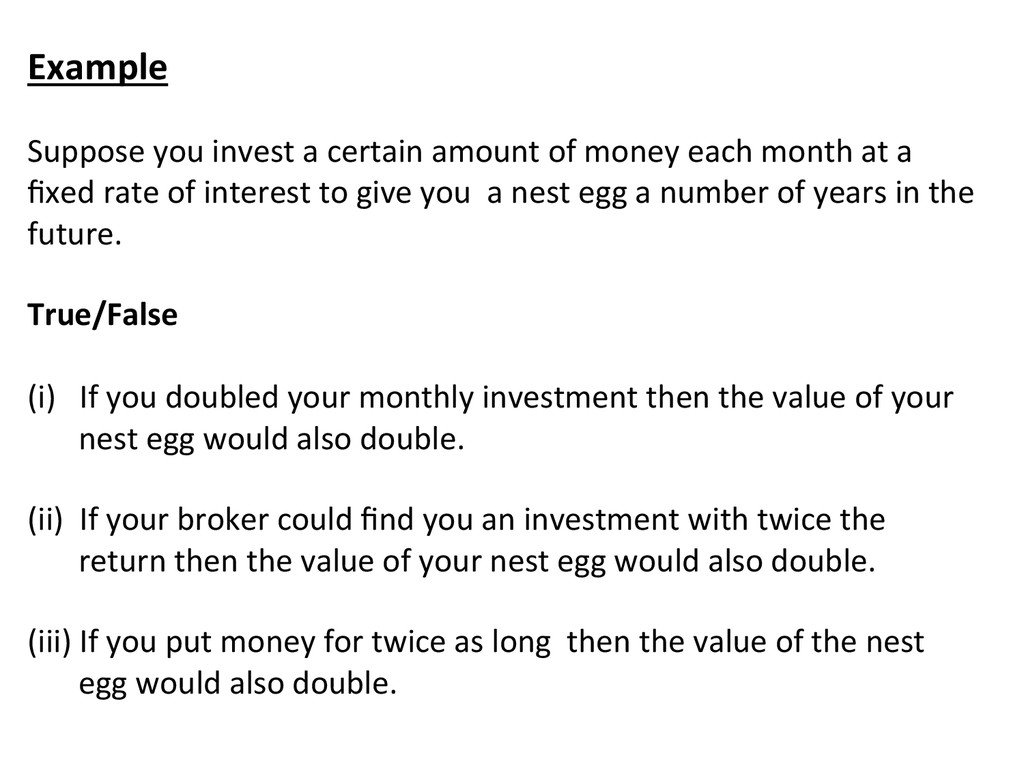 Example    Suppose you invest a...
