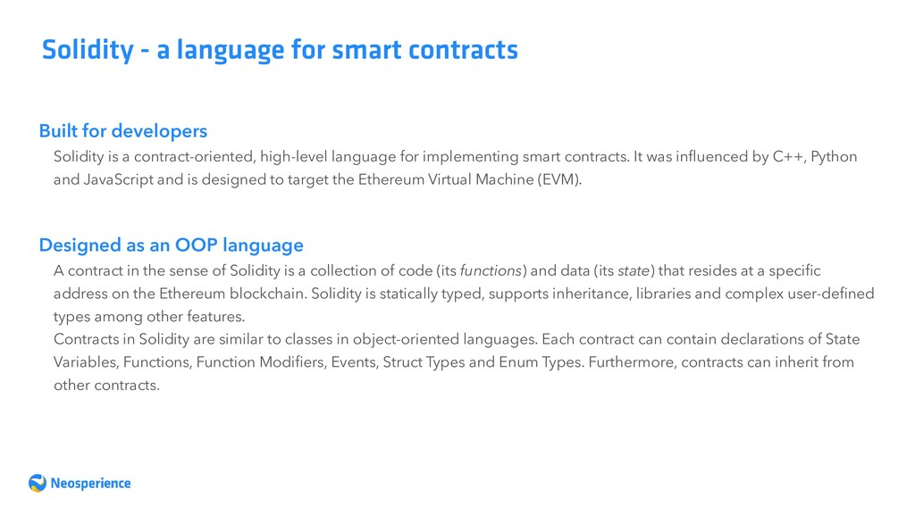 Built for developers Solidity - a language for ...
