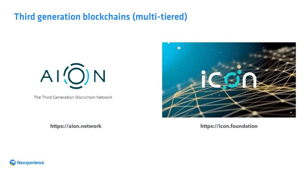 Third generation blockchains (multi-tiered) htt...