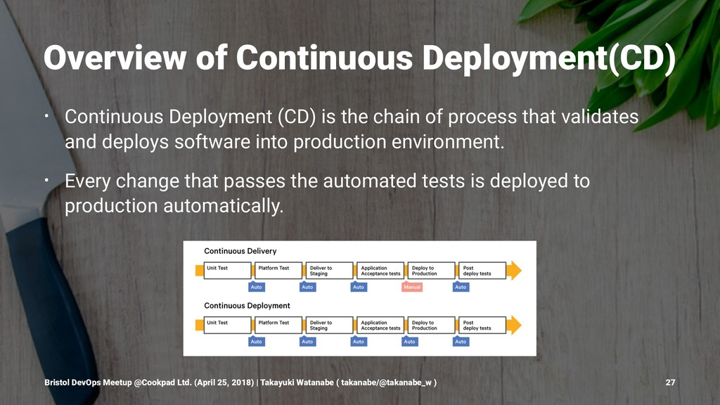 Overview of Continuous Deployment(CD) • Continu...