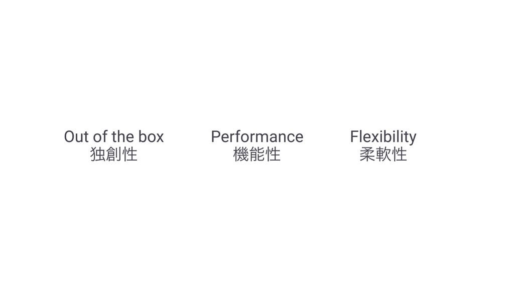 Out of the box ಠੑ Performance ػੑ Flexibility ...