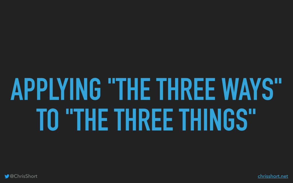 "APPLYING ""THE THREE WAYS"" TO ""THE THREE THINGS""..."