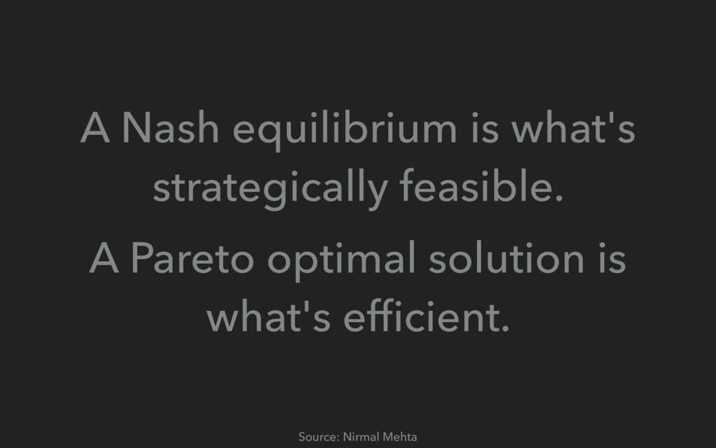 A Nash equilibrium is what's strategically feas...