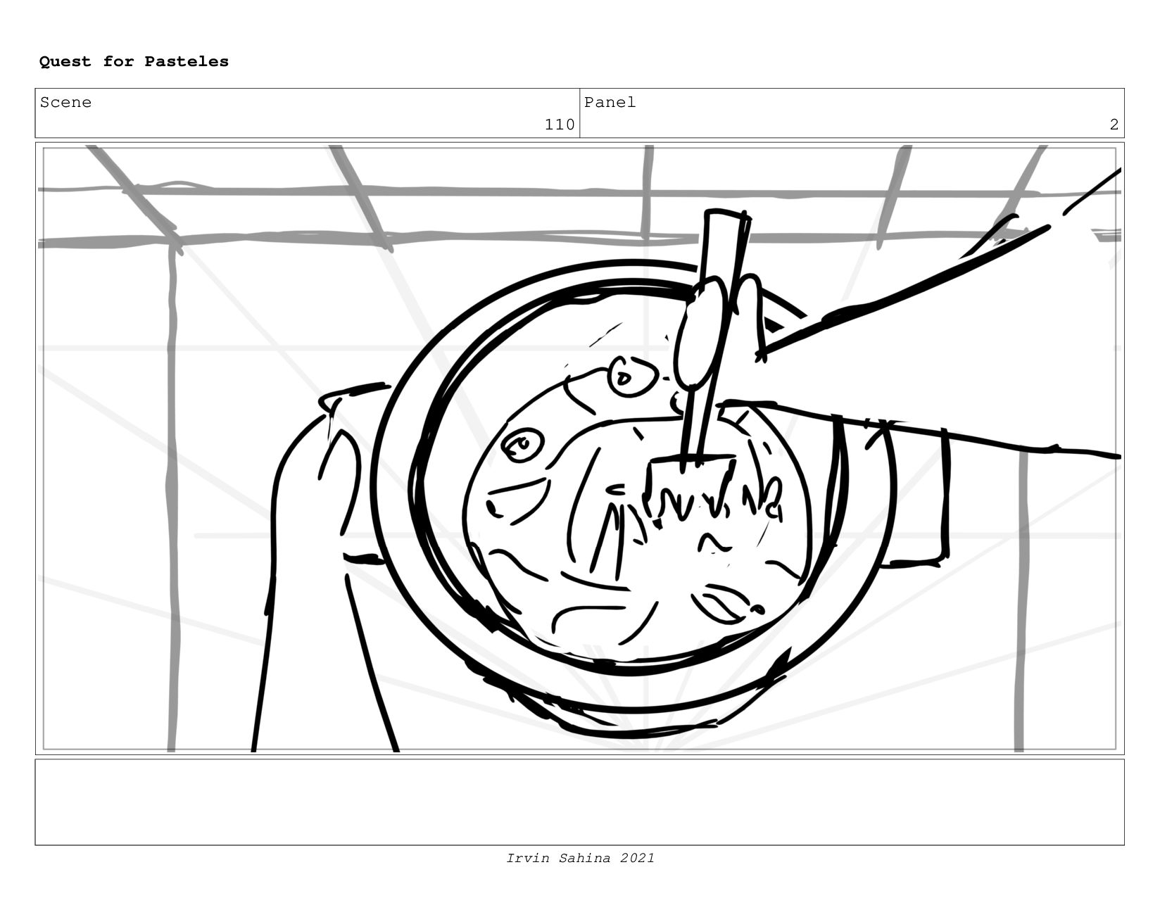 Scene 113 Panel 5 Quest for Pasteles Irvin Sahi...