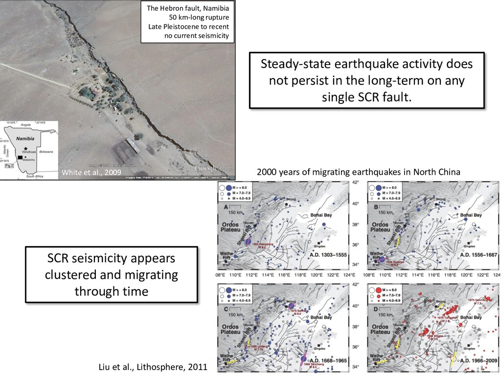 SCR seismicity appears clustered and migrating ...